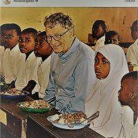 غذا خوردن بیل گیتس با کودکان آفریقایی